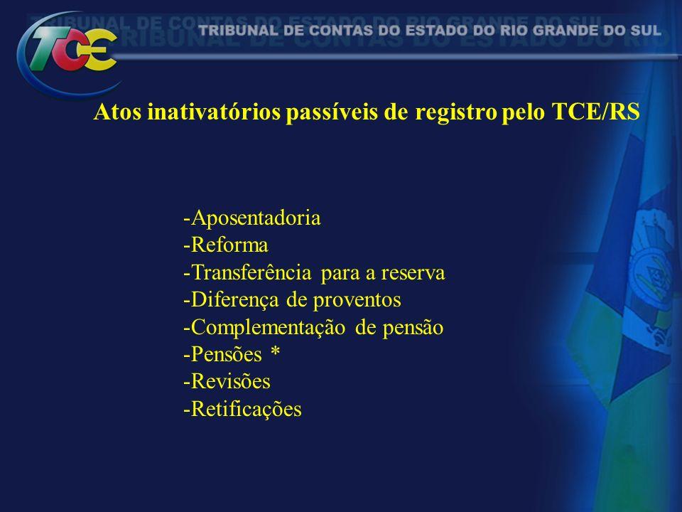 Atos inativatórios passíveis de registro pelo TCE/RS -Aposentadoria -Reforma -Transferência para a reserva -Diferença de proventos -Complementação de pensão -Pensões * -Revisões -Retificações
