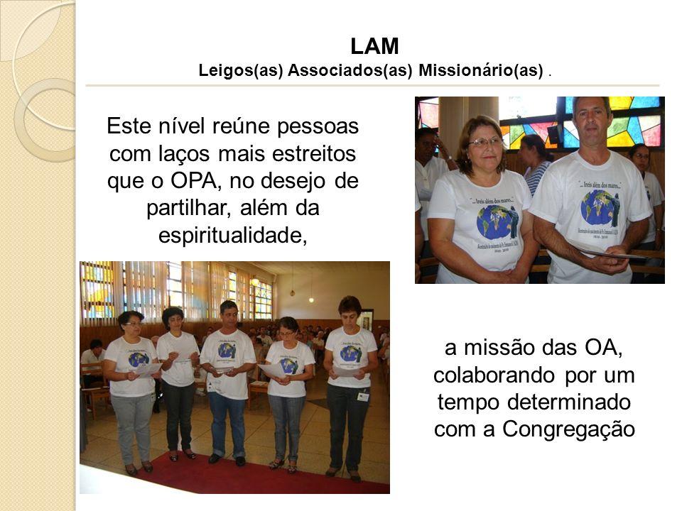 Este nível reúne pessoas com laços mais estreitos que o OPA, no desejo de partilhar, além da espiritualidade, LAM Leigos(as) Associados(as) Missionári