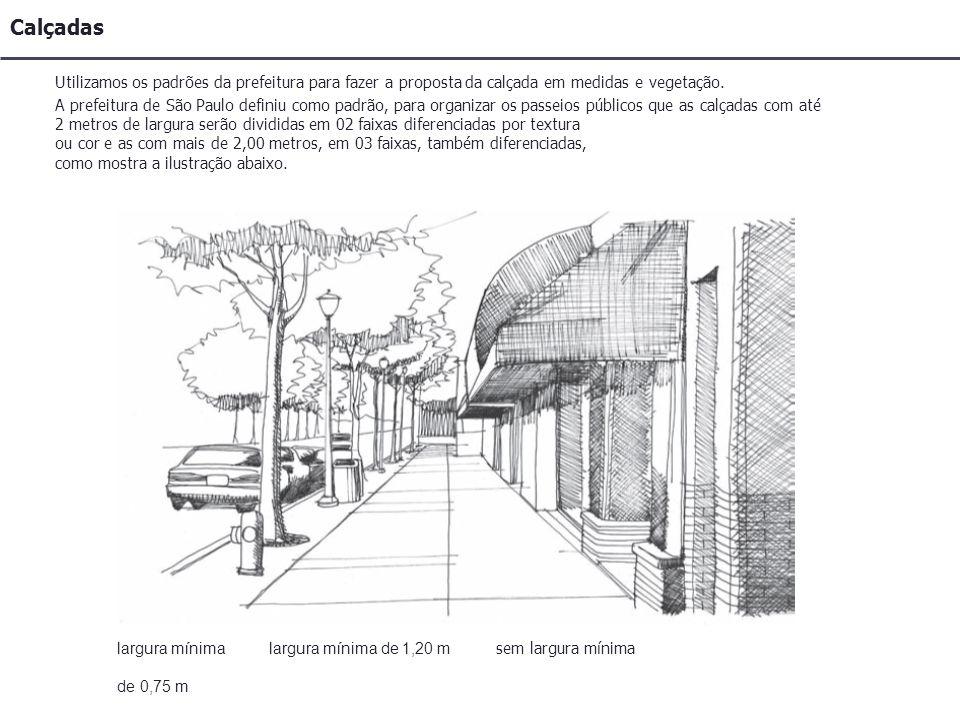 Calçadas A prefeitura de São Paulo definiu como padrão, para organizar os passeios públicos que as calçadas com até 2 metros de largura serão divididas em 02 faixas diferenciadas por textura ou cor e as com mais de 2,00 metros, em 03 faixas, também diferenciadas, como mostra a ilustração abaixo.