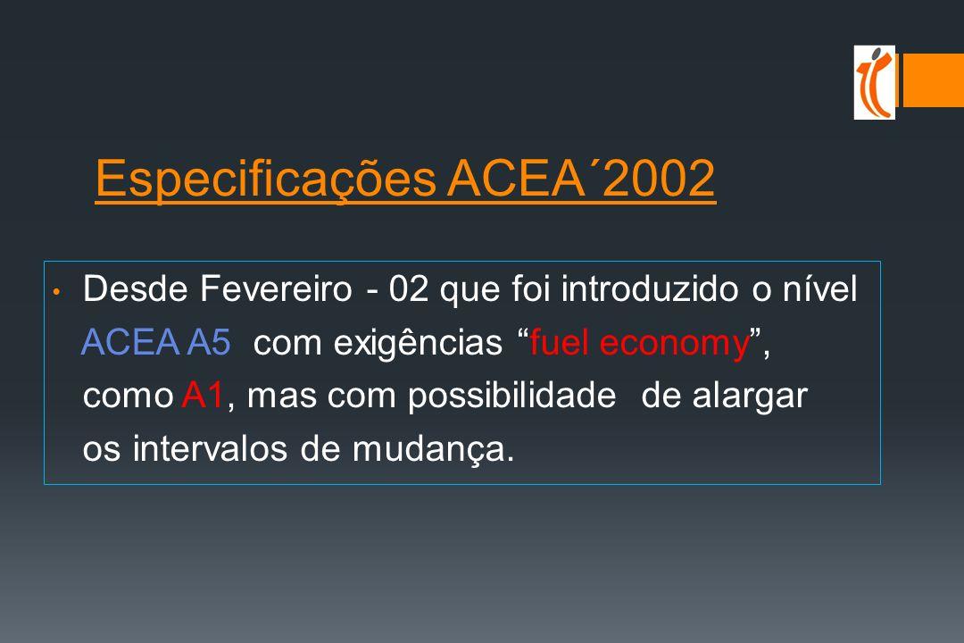 Especificações ACEA´99 e 2000 Desde SET-99 foi introduzido o nível ACEA E5 (melhores prestações que E4 relativamente à prova americana de Fuligem-desgaste, ainda que pior detergência-limpeza piston), com o cancelamento simultâneo de ACEA E1 ACEA 2000 considera um novo nível ACEA B5 para os novos motores Diesel de turismos de injecção directa que está ao mesmo nível de ACEA B4, mas com exigências fuel economy e long drain