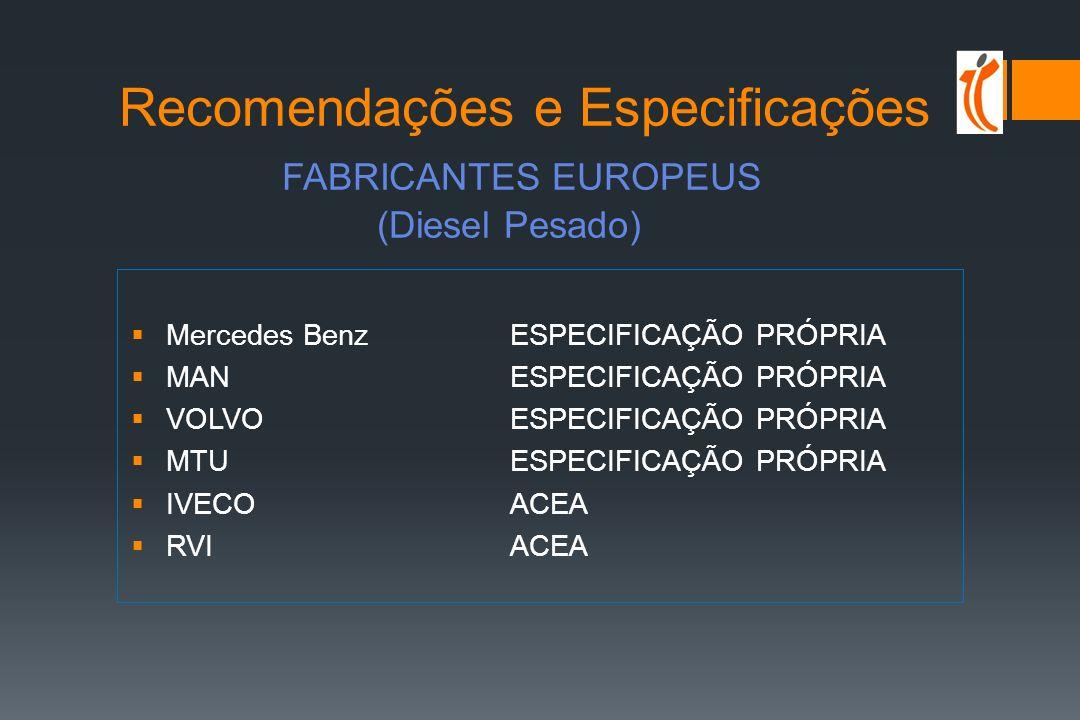 ÓLEOS TURISMO segmentação mercado 0W/5W-30/40 full synthetic ACEA A5, B5, B4; API SL/SM; VW 504/507; MB 229.51; BMW LL-04 5W/10W-40 Semi-sintéticos ACEA A3, B3, B4; API SL-SM; VW 502.00, 505.01; MB 229.3 15W/20W-40/50 minerais ACEA A3, B3, B4; API SL; VW 501.01; 505.00
