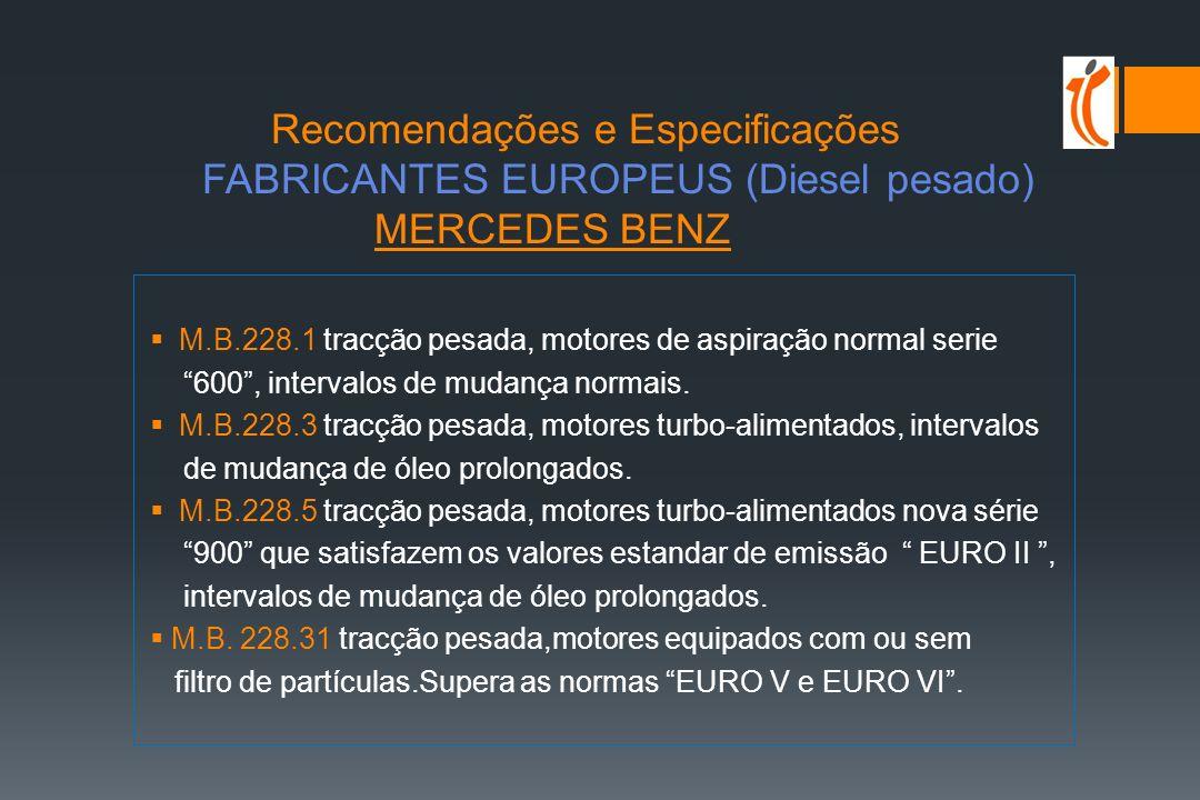 Recomendações e Especificações FABRICANTES EUROPEUS (Diesel Pesado) Mercedes BenzESPECIFICAÇÃO PRÓPRIA MANESPECIFICAÇÃO PRÓPRIA VOLVOESPECIFICAÇÃO PRÓPRIA MTUESPECIFICAÇÃO PRÓPRIA IVECOACEA RVIACEA