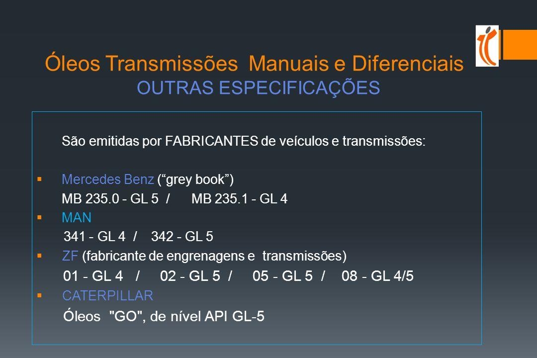 Óleos Transmissões Manuais e Diferenciais ESPECIFICAÇÕES API MT-1 / PG-2 Na USA utilizam-se óleos API GL-5 para os diferenciais e GL-4 para as poucas caixas manuais.
