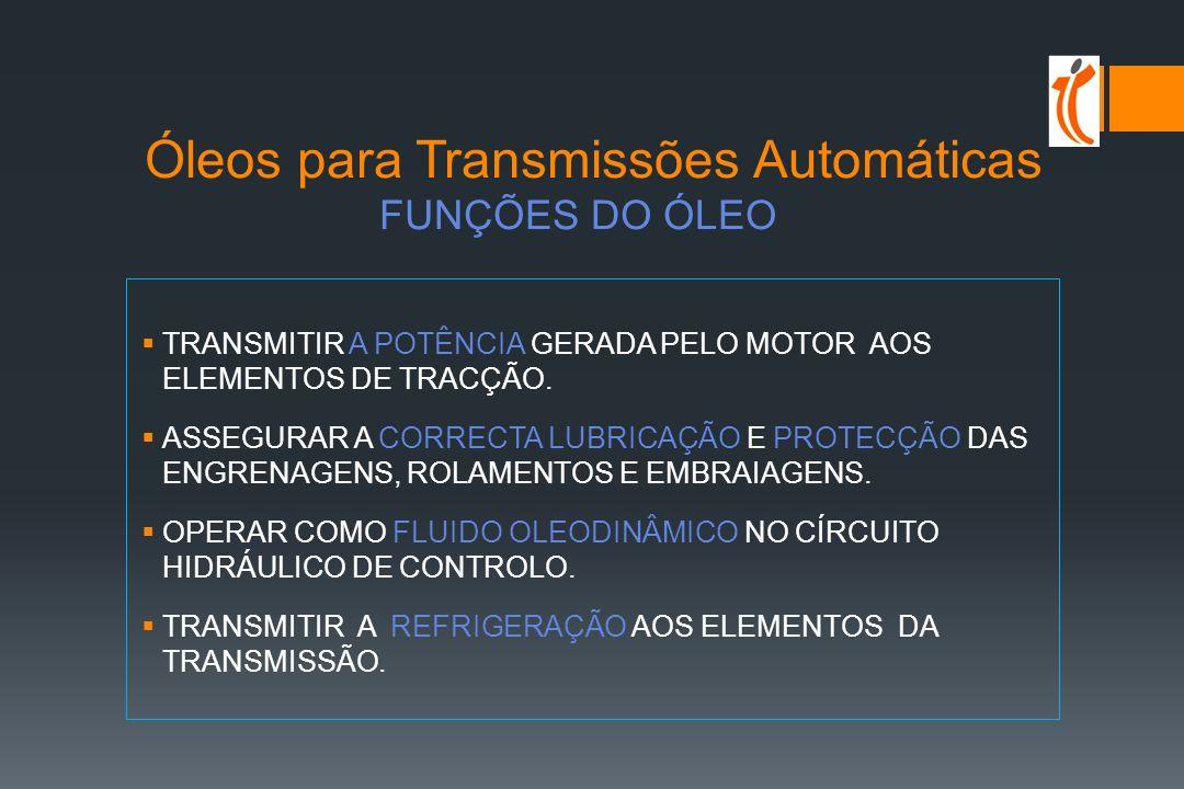 Óleos Transmissões Manuais e Diferenciais OUTRAS ESPECIFICAÇÕES São emitidas por FABRICANTES de veículos e transmissões: Mercedes Benz (grey book) MB 235.0 - GL 5 / MB 235.1 - GL 4 MAN 341 - GL 4 / 342 - GL 5 ZF (fabricante de engrenagens e transmissões) 01 - GL 4 / 02 - GL 5 / 05 - GL 5 / 08 - GL 4/5 CATERPILLAR Óleos GO , de nível API GL-5