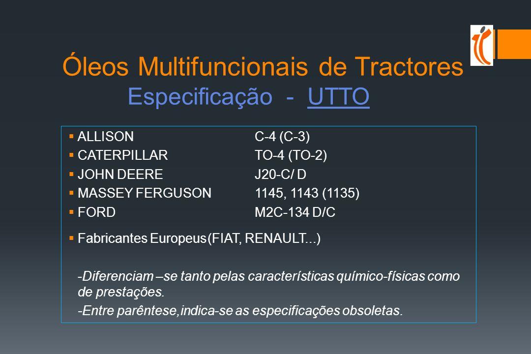 Óleos Multifuncionais de Tractores Especificação - STOU Motor Transmissão Travões / Óleo Círcuito Hidráulico API CF-4 CE/SF API GL-4 MF M1139, M1145Vickers Vane pump FORD M2C159 BDenison HF-2 Vickers I-286-S John Deere J27 Caterpillar TO-2 Allison C-4
