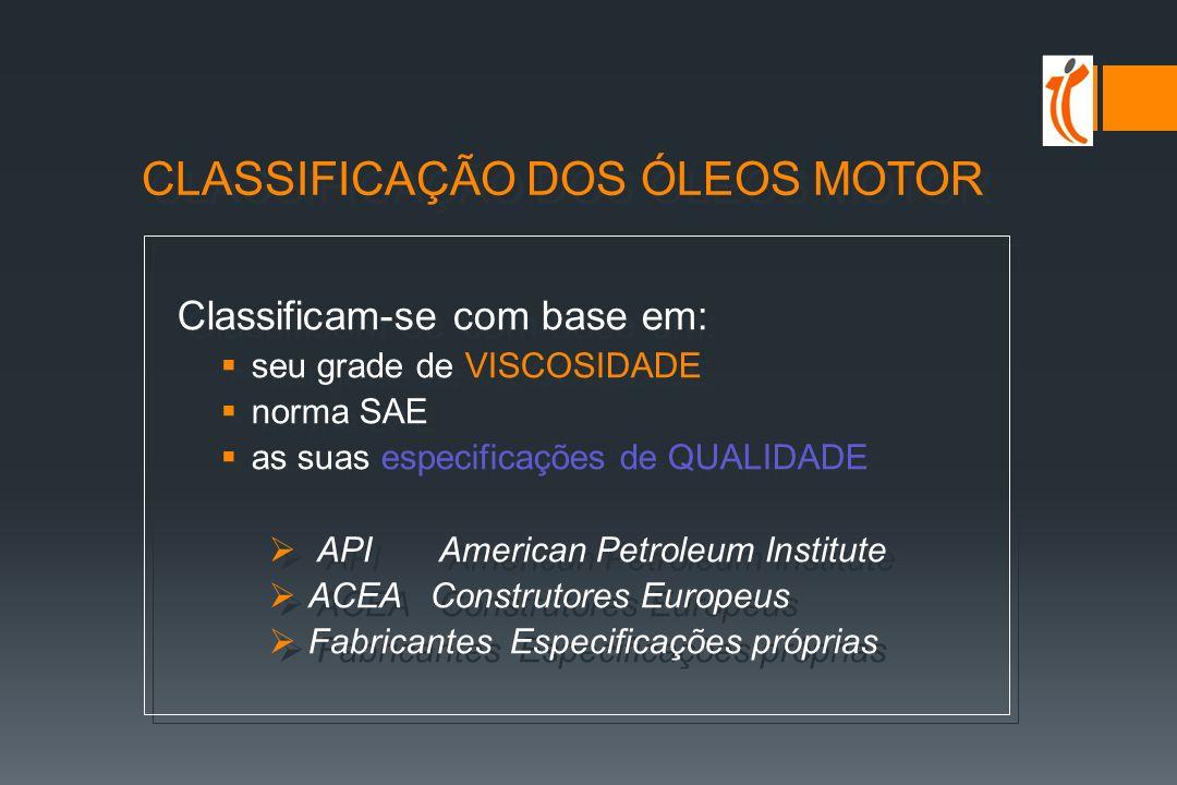 CLASSIFICAÇÃO DOS ÓLEOS MOTOR Classificam-se com base em: seu grade de VISCOSIDADE norma SAE as suas especificações de QUALIDADE API American Petroleum Institute ACEA Construtores Europeus Fabricantes Especificações próprias Classificam-se com base em: seu grade de VISCOSIDADE norma SAE as suas especificações de QUALIDADE API American Petroleum Institute ACEA Construtores Europeus Fabricantes Especificações próprias