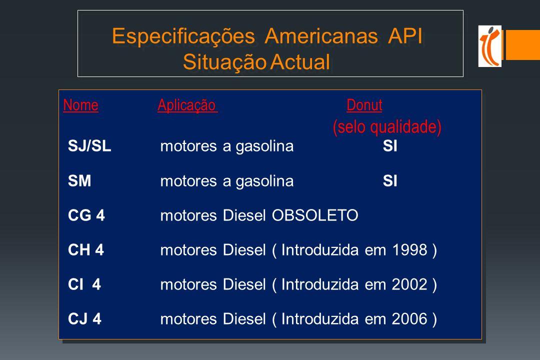 Especificações Americanas API Situação Actual Nome Aplicação Donut (selo qualidade) SJ/SL motores a gasolina SI SM motores a gasolina SI CG 4 motores Diesel OBSOLETO CH 4 motores Diesel ( Introduzida em 1998 ) CI 4 motores Diesel ( Introduzida em 2002 ) CJ 4 motores Diesel ( Introduzida em 2006 ) Nome Aplicação Donut (selo qualidade) SJ/SL motores a gasolina SI SM motores a gasolina SI CG 4 motores Diesel OBSOLETO CH 4 motores Diesel ( Introduzida em 1998 ) CI 4 motores Diesel ( Introduzida em 2002 ) CJ 4 motores Diesel ( Introduzida em 2006 )