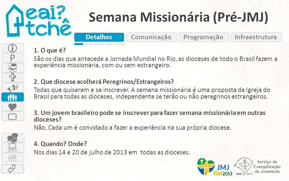 Serviço de Evangelização da Juventude Semana Missionária (Pré-JMJ) 1. O que é? São os dias que antecede a Jornada Mundial no Rio, as dioceses de todo