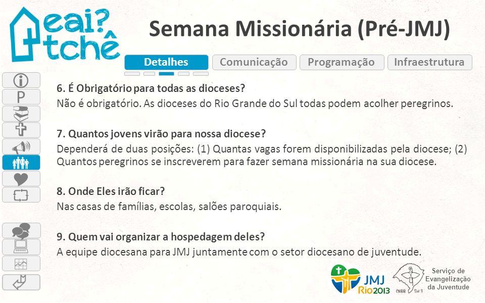 Serviço de Evangelização da Juventude Semana Missionária (Pré-JMJ) 6. É Obrigatório para todas as dioceses? Não é obrigatório. As dioceses do Rio Gran