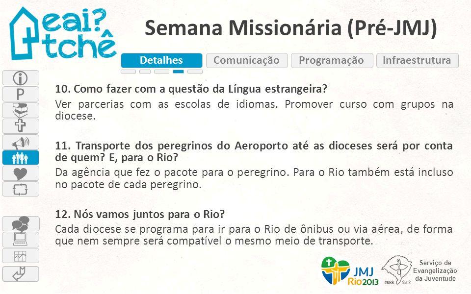 Serviço de Evangelização da Juventude Semana Missionária (Pré-JMJ) 10. Como fazer com a questão da Língua estrangeira? Ver parcerias com as escolas de