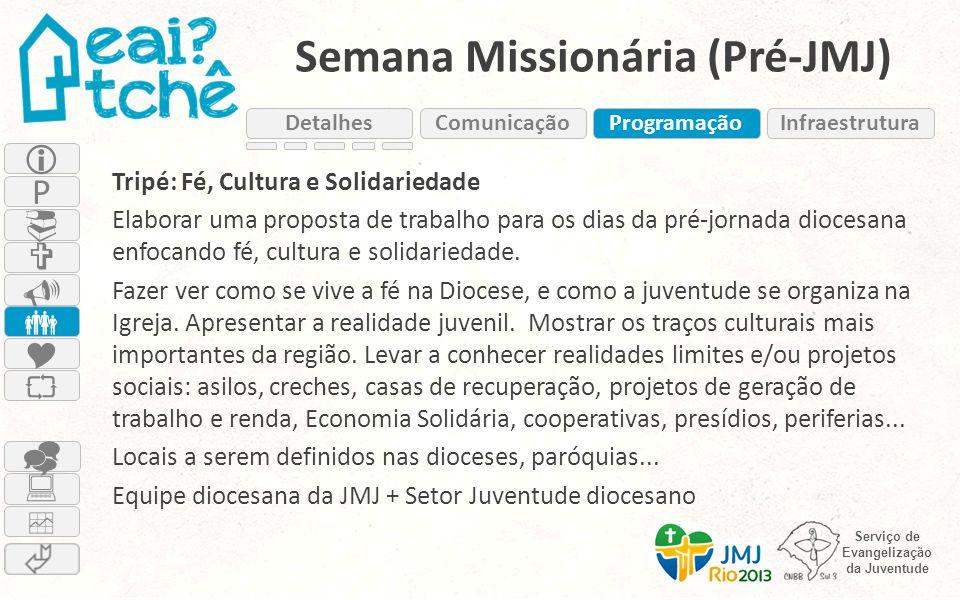 Serviço de Evangelização da Juventude Semana Missionária (Pré-JMJ) Tripé: Fé, Cultura e Solidariedade Elaborar uma proposta de trabalho para os dias d