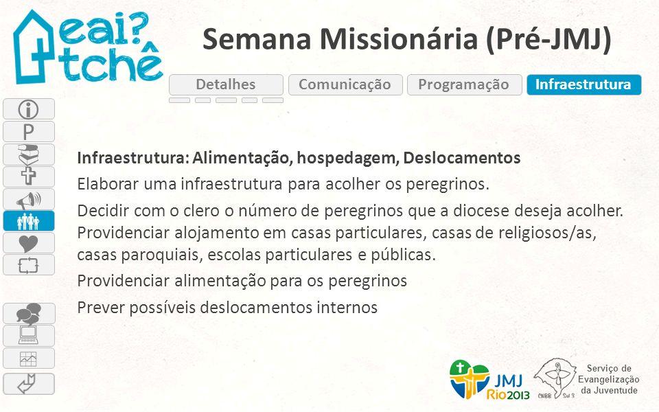 Serviço de Evangelização da Juventude Semana Missionária (Pré-JMJ) Infraestrutura: Alimentação, hospedagem, Deslocamentos Elaborar uma infraestrutura