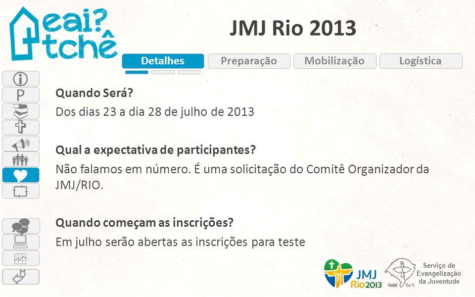 Serviço de Evangelização da Juventude JMJ Rio 2013 Quando Será? Dos dias 23 a dia 28 de julho de 2013 Qual a expectativa de participantes? Não falamos