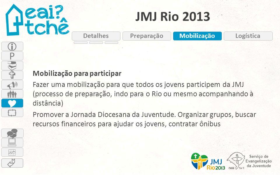 Serviço de Evangelização da Juventude JMJ Rio 2013 Mobilização para participar Fazer uma mobilização para que todos os jovens participem da JMJ (proce