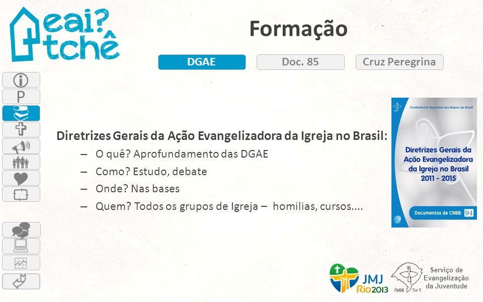 Serviço de Evangelização da Juventude Formação Diretrizes Gerais da Ação Evangelizadora da Igreja no Brasil: – O quê? Aprofundamento das DGAE – Como?