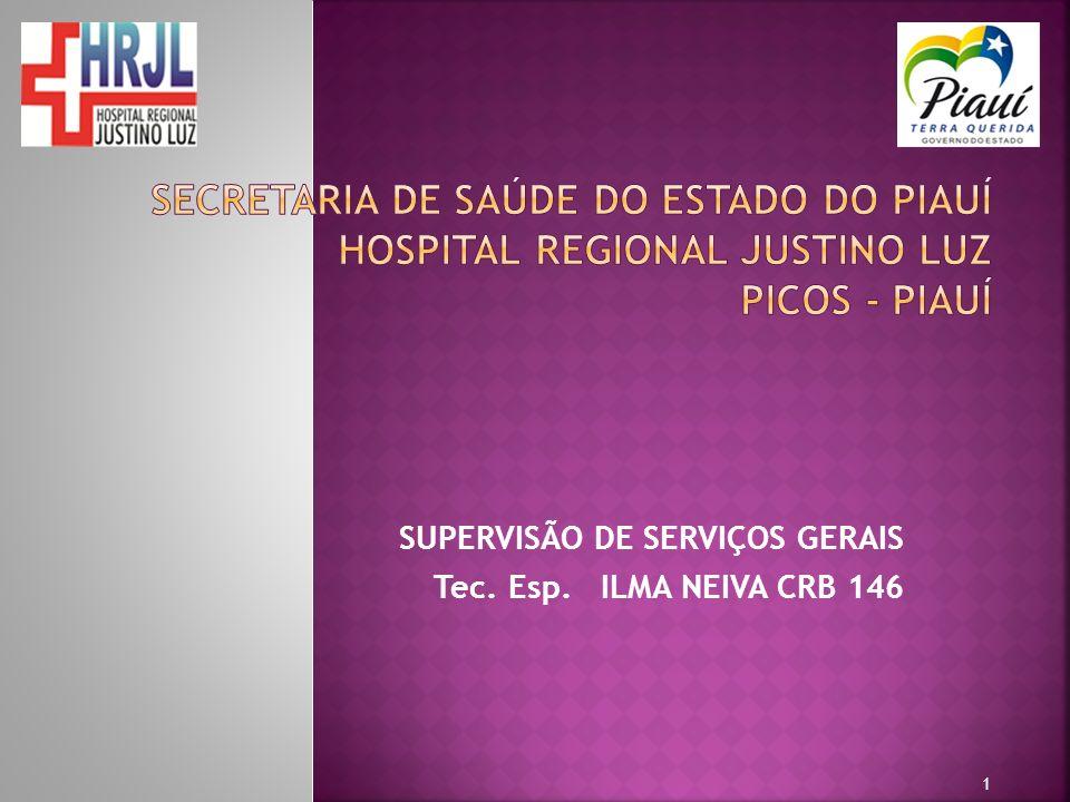 SUPERVISÃO DE SERVIÇOS GERAIS Tec. Esp. ILMA NEIVA CRB 146 1