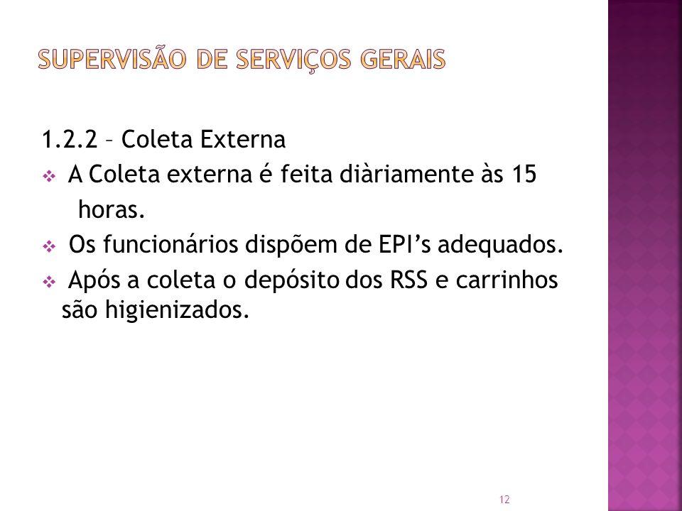 1.2.2 – Coleta Externa A Coleta externa é feita diàriamente às 15 horas. Os funcionários dispõem de EPIs adequados. Após a coleta o depósito dos RSS e
