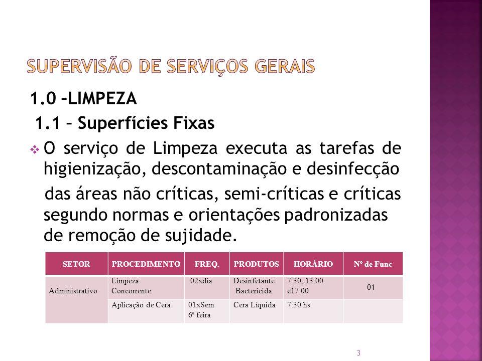 1.0 –LIMPEZA 1.1 – Superfícies Fixas O serviço de Limpeza executa as tarefas de higienização, descontaminação e desinfecção das áreas não críticas, se