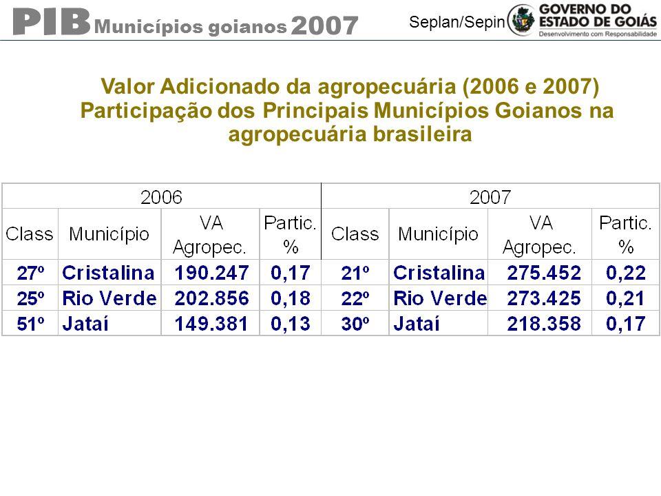 Municípios goianos 2007 Seplan/Sepin Valor Adicionado da agropecuária (2006 e 2007) Participação dos Principais Municípios Goianos na agropecuária bra