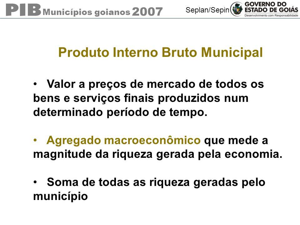 Municípios goianos 2007 Seplan/Sepin Produto Interno Bruto Municipal Divulgação dos resultados de 2007 Por que a defasagem temporal?