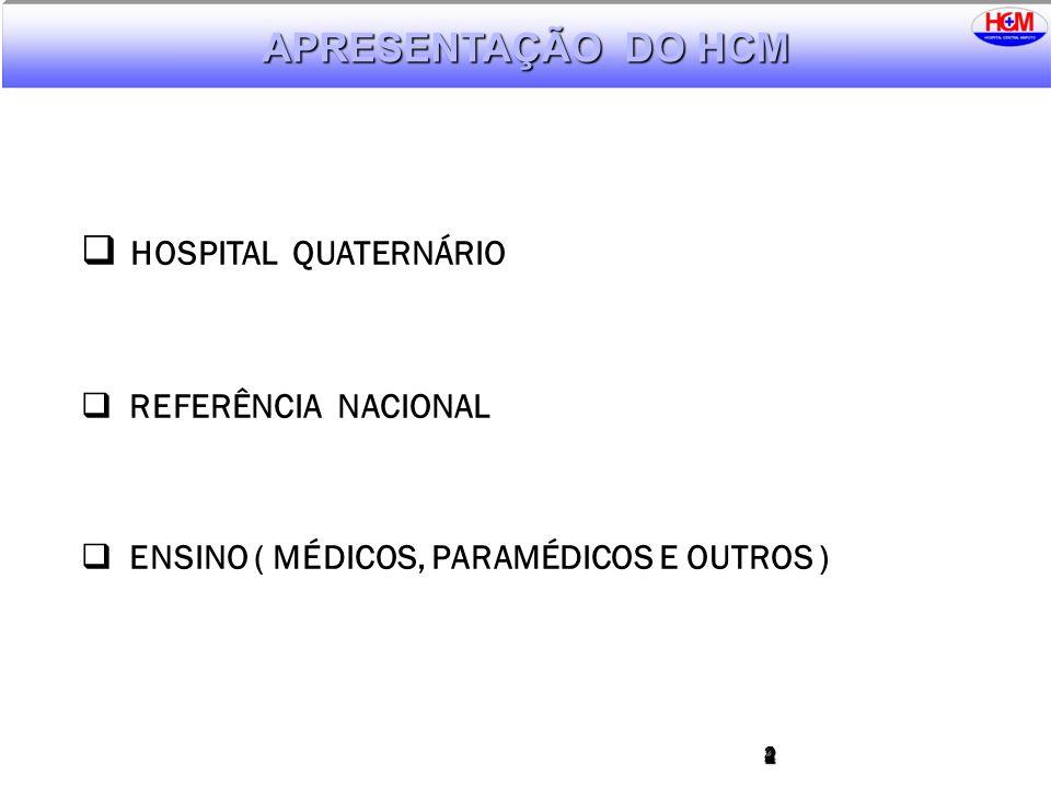 224 HOSPITAL QUATERNÁRIO REFERÊNCIA NACIONAL ENSINO ( MÉDICOS, PARAMÉDICOS E OUTROS ) APRESENTAÇÃO DO HCM
