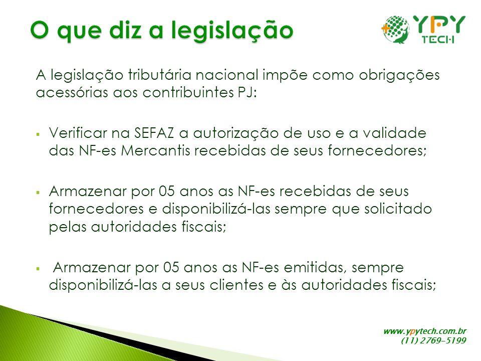 www.ypytech.com.br (11) 2769-5199 A legislação tributária nacional impõe como obrigações acessórias aos contribuintes PJ: Verificar na SEFAZ a autoriz