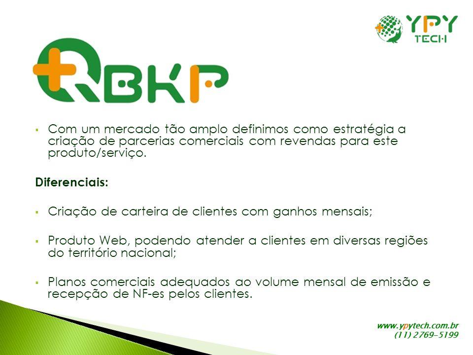 www.ypytech.com.br (11) 2769-5199 Com um mercado tão amplo definimos como estratégia a criação de parcerias comerciais com revendas para este produto/