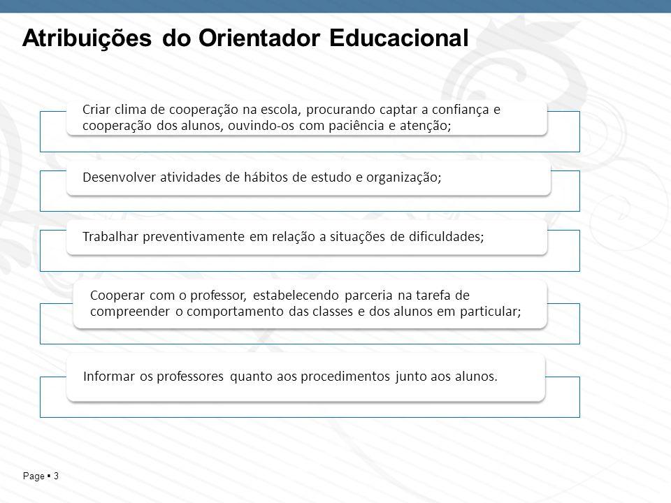 Page 3 Atribuições do Orientador Educacional Criar clima de cooperação na escola, procurando captar a confiança e cooperação dos alunos, ouvindo-os co