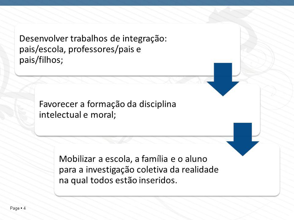 Page 4 Desenvolver trabalhos de integração: pais/escola, professores/pais e pais/filhos; Favorecer a formação da disciplina intelectual e moral; Mobil