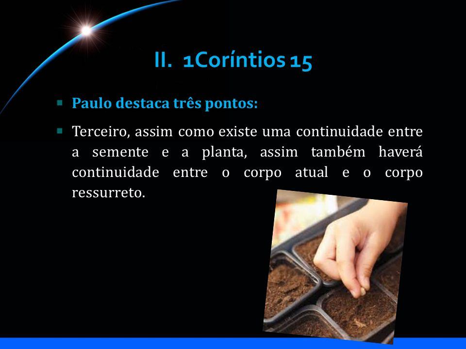 II. 1Coríntios 15 Paulo destaca três pontos: Terceiro, assim como existe uma continuidade entre a semente e a planta, assim também haverá continuidade