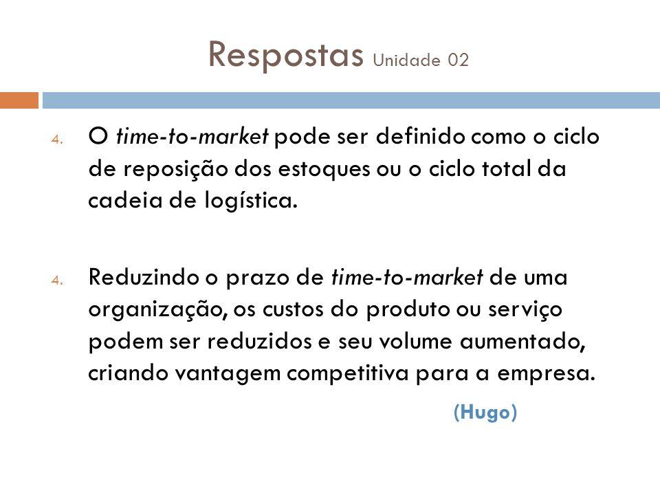 Respostas Unidade 02 4. O time-to-market pode ser definido como o ciclo de reposição dos estoques ou o ciclo total da cadeia de logística. 4. Reduzind