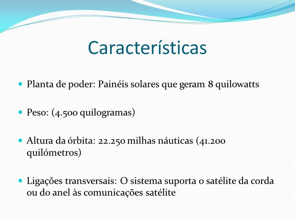 Características Planta de poder: Painéis solares que geram 8 quilowatts Peso: (4.500 quilogramas) Altura da órbita: 22.250 milhas náuticas (41.200 qui