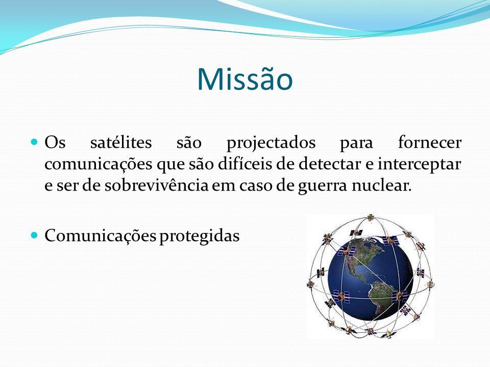 Missão Os satélites são projectados para fornecer comunicações que são difíceis de detectar e interceptar e ser de sobrevivência em caso de guerra nuc