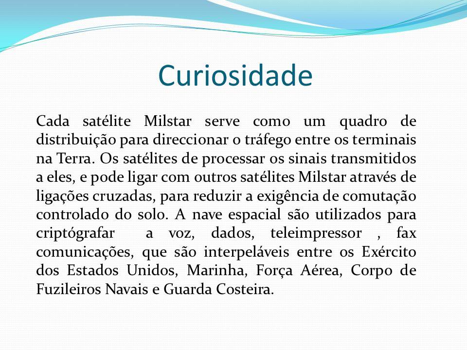 Curiosidade Cada satélite Milstar serve como um quadro de distribuição para direccionar o tráfego entre os terminais na Terra. Os satélites de process