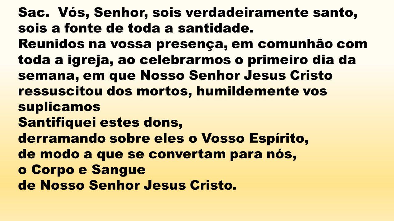 Sac. Vós, Senhor, sois verdadeiramente santo, sois a fonte de toda a santidade. Reunidos na vossa presença, em comunhão com toda a igreja, ao celebrar