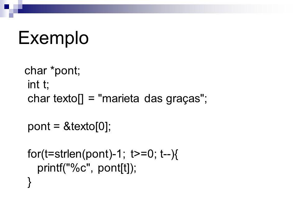 Exemplo char *pont; int t; char texto[] =