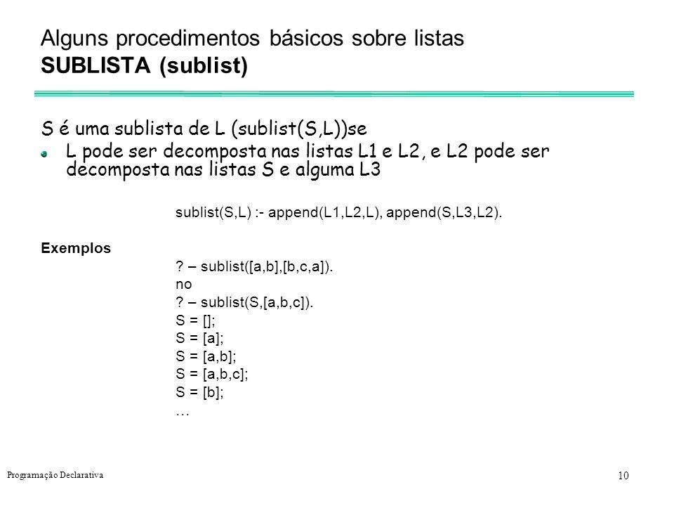 10 Programação Declarativa Alguns procedimentos básicos sobre listas SUBLISTA (sublist) S é uma sublista de L (sublist(S,L))se L pode ser decomposta n