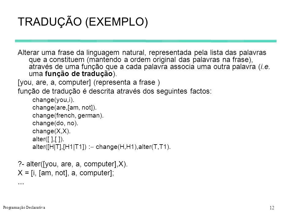 12 Programação Declarativa TRADUÇÃO (EXEMPLO) Alterar uma frase da linguagem natural, representada pela lista das palavras que a constituem (mantendo