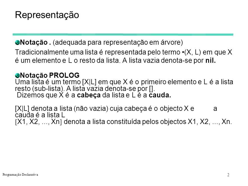 3 Programação Declarativa Exemplos a a | 1, 2, 3 1 | 2, 3 a, b | c a | b | c [ a | L] [ X | L] Termos equivalentes (a, nil)[a] [a| [] ] (a, (b,nil))[a,b] [a|[b] ] [a,b| [] ] (a, (b,X))[a,b|X]