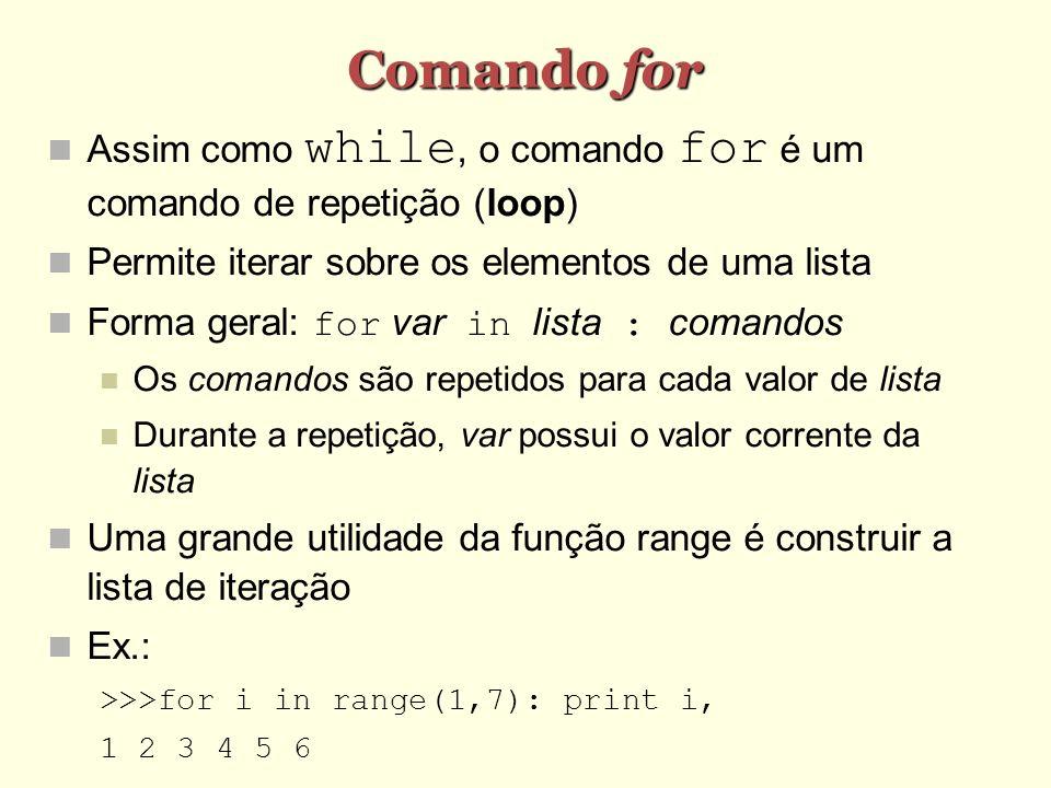 Comando for Assim como while, o comando for é um comando de repetição (loop) Permite iterar sobre os elementos de uma lista Forma geral: for var in li