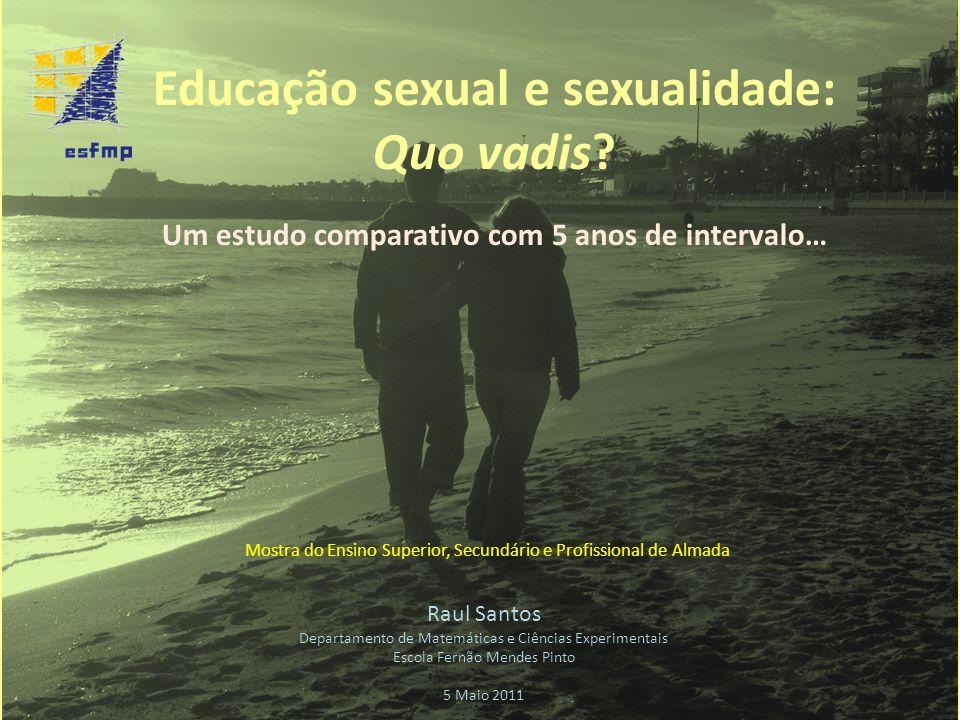 Educação sexual e sexualidade: Quo vadis? Um estudo comparativo com 5 anos de intervalo… Raul Santos Departamento de Matemáticas e Ciências Experiment