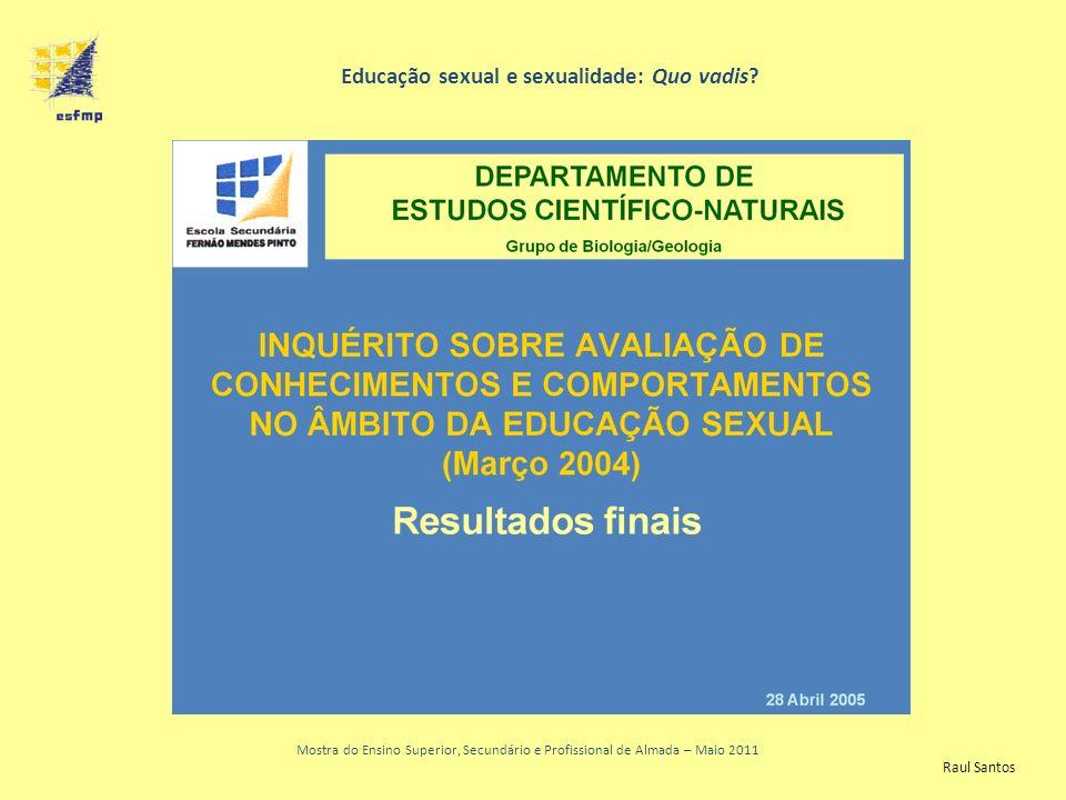 Resultados finais Universo Mostra do Ensino Superior, Secundário e Profissional de Almada – Maio 2011 Educação sexual e sexualidade: Quo vadis.