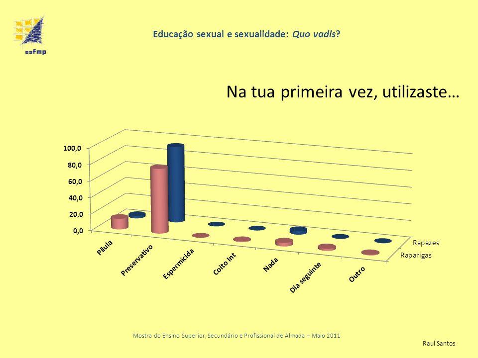 Educação sexual e sexualidade: Quo vadis? Mostra do Ensino Superior, Secundário e Profissional de Almada – Maio 2011 Na tua primeira vez, utilizaste…