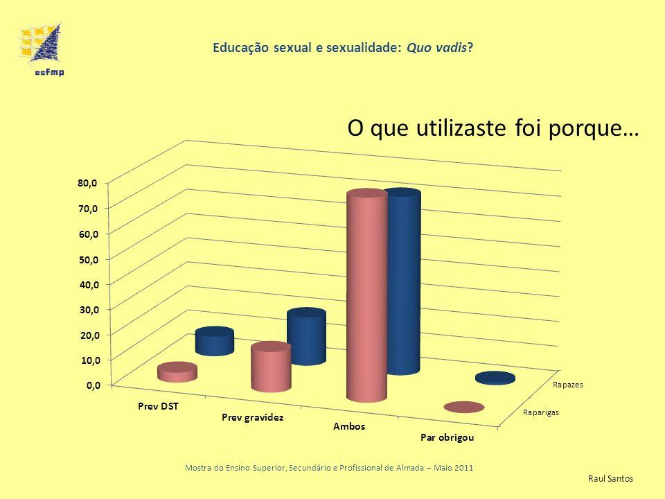 Educação sexual e sexualidade: Quo vadis? Mostra do Ensino Superior, Secundário e Profissional de Almada – Maio 2011 O que utilizaste foi porque… Raul