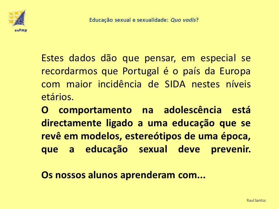 Educação sexual e sexualidade: Quo vadis? Estes dados dão que pensar, em especial se recordarmos que Portugal é o país da Europa com maior incidência