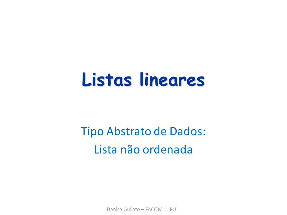 Listas lineares Tipo Abstrato de Dados: Lista não ordenada Denise Guliato – FACOM - UFU