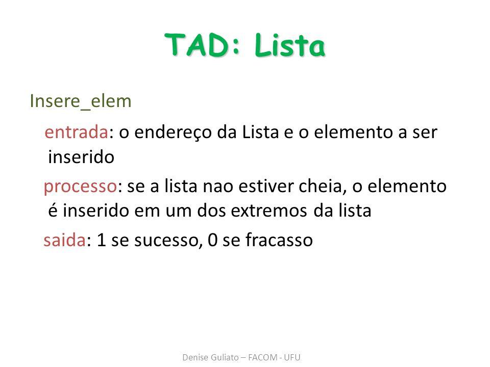 TAD: Lista Insere_elem entrada: o endereço da Lista e o elemento a ser inserido processo: se a lista nao estiver cheia, o elemento é inserido em um dos extremos da lista saida: 1 se sucesso, 0 se fracasso Denise Guliato – FACOM - UFU