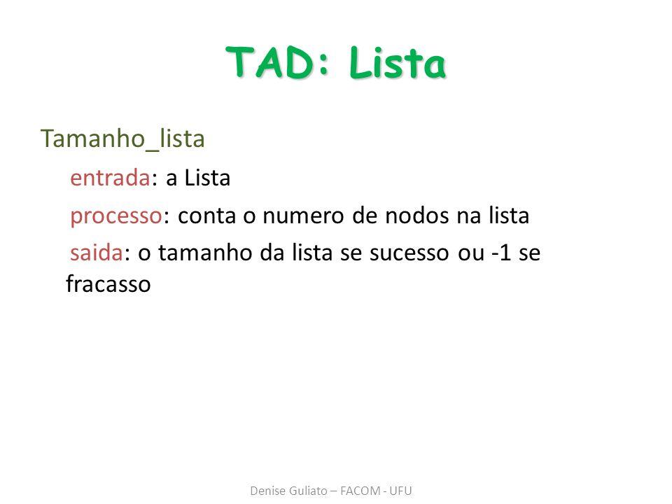 TAD: Lista Tamanho_lista entrada: a Lista processo: conta o numero de nodos na lista saida: o tamanho da lista se sucesso ou -1 se fracasso Denise Guliato – FACOM - UFU