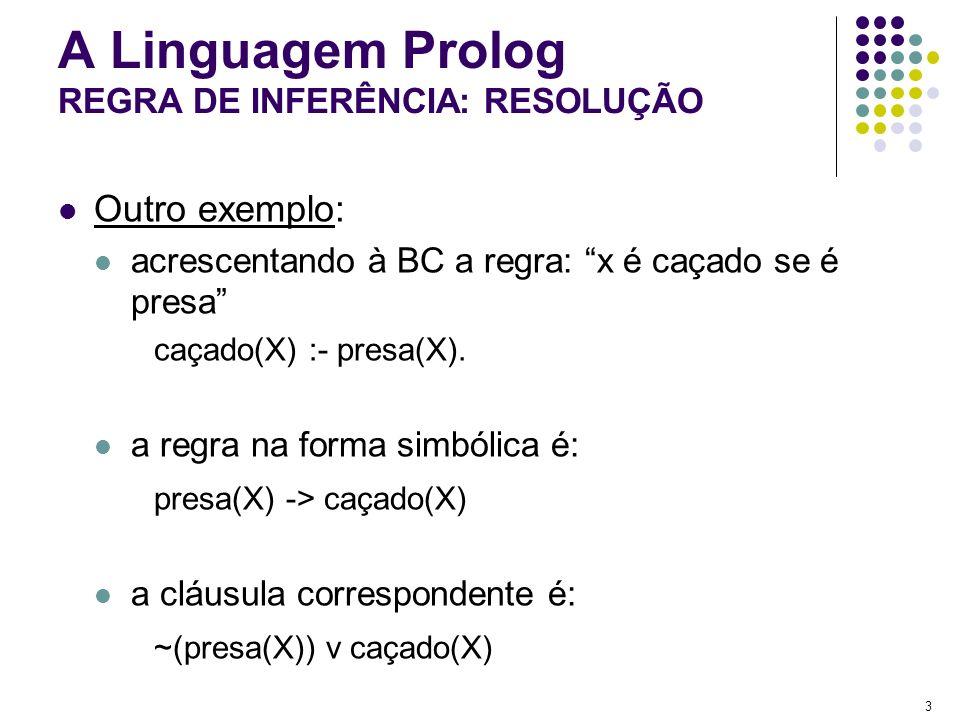 3 A Linguagem Prolog REGRA DE INFERÊNCIA: RESOLUÇÃO Outro exemplo: acrescentando à BC a regra: x é caçado se é presa caçado(X) :- presa(X). a regra na