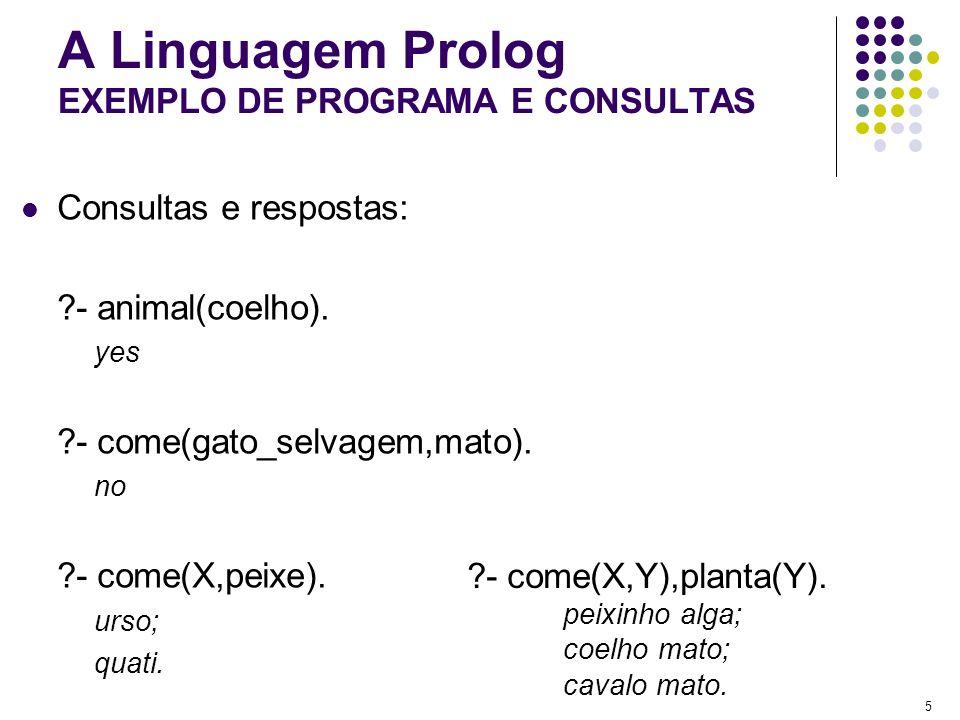 5 A Linguagem Prolog EXEMPLO DE PROGRAMA E CONSULTAS Consultas e respostas: ?- animal(coelho). yes ?- come(gato_selvagem,mato). no ?- come(X,peixe). u